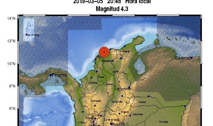 Temblor en el Atlántico con epicentro en Sitio Nuevo, Magdalena