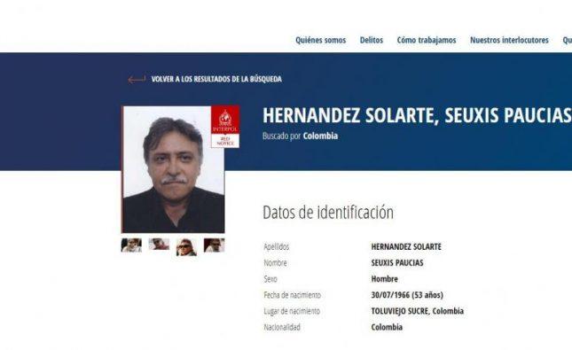 Interpol emite circular roja contra Jesús Santrich
